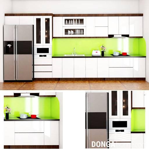 Tủ bếp gỗ công nghệp đa dạng màu săc, hoa văn